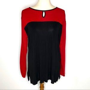 Misook Red & Black Colorblock Stretch Tunic Sz L